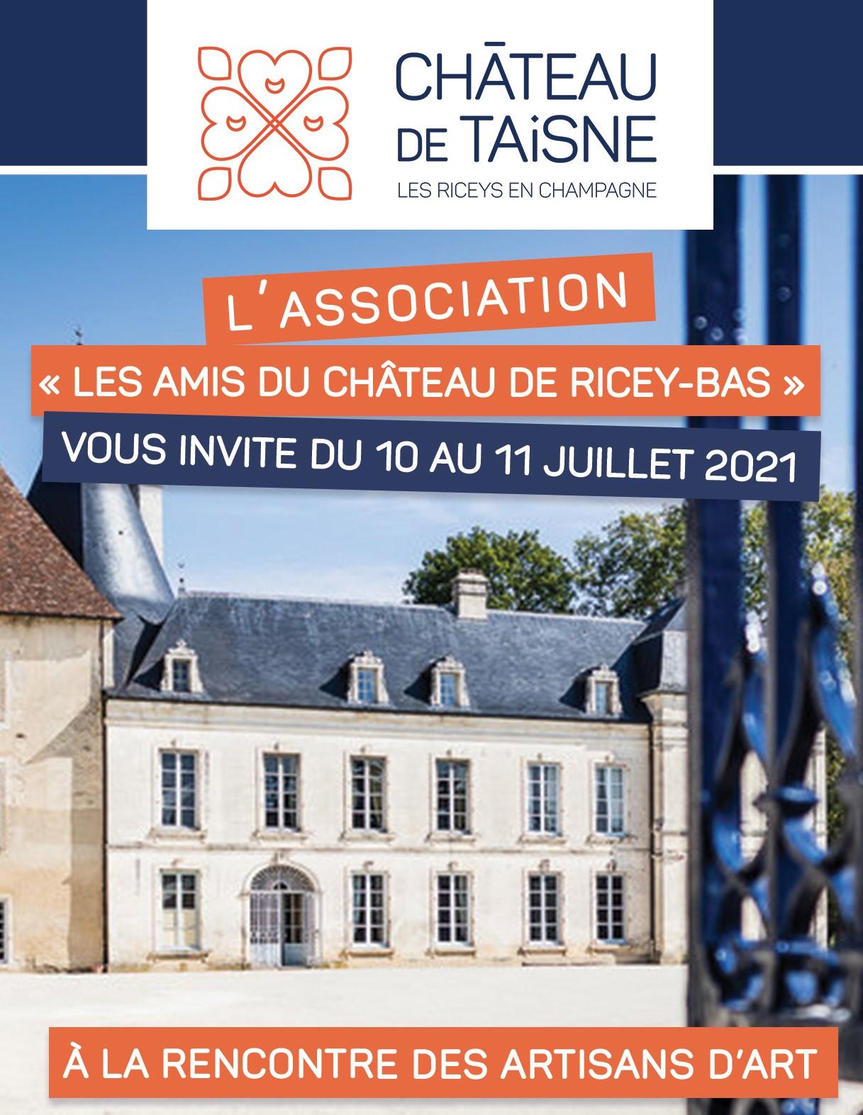 """Flyer de l'évènement """"A la rencontre des artisans d'art"""" avec une photo du château"""