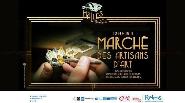 Affiche du marché des artisans d'art aux Halles du Boulingrin à Reims